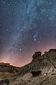 Winter Stars over Dinosaur Park, Alberta, Canada