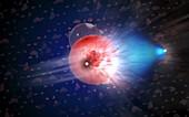 IceCube neutrino detection event, illustration