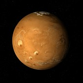 Tharsis Montes to North Pole, Mars, illustration