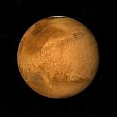 Dark Acidalia Planitia and North Pole, Mars, illustration