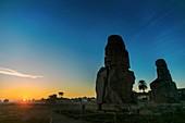 Winter solstice sunrise at the Colossi of Memnon