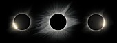 Total solar eclipse, totality and diamond ring effects