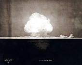 Trinity Test atom bomb 9 seconds after detonation, 1945