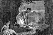 19th Century African woman grinding grain, illustration