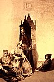 19th Century North African Jewish family, illustration