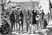 19th Century New Caledonian men, illustration