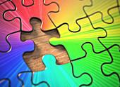Colourful jigsaw puzzle, illustration