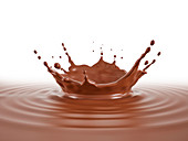 Chocolate pool with crown splash and ripples, illustration