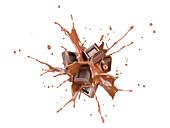 Chocolate blocks exploding, illustration