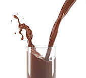 Pouring liquid chocolate into a glass, illustration
