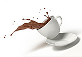 Chocolate spilling from cup and saucer, illustration