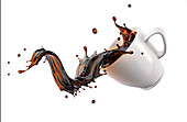 Mug with coffee wave, illustration
