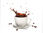 Coffee splash in a cup on saucer, illustration