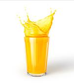 Glass of orange juice with splash, illustration