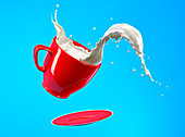 Milk spilling from cup and saucer, illustration