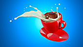 Chocolate cube splashing into cup of milk, illustration