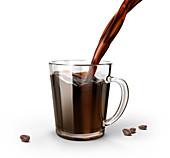 Pouring coffee into a glass mug, illustration
