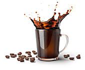 Glass mug with coffee splash and coffee beans, illustration