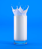 Glass of milk with crown splash, illustration