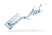 Glass with spilling water splash, illustration