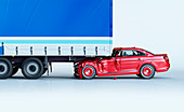 A car and a truck crashed in accident, illustration