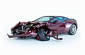 Car accident damage, illustration