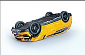 Yellow car crashed upside down, illustration