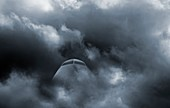 Airplane in stormy weather