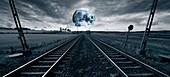 Train track towards the Moon