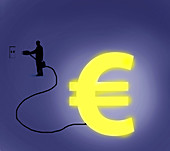 Illuminated Euro symbol, illustration