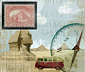 Travel in Egypt, conceptual illustration
