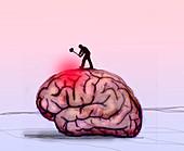 Brain disease, conceptual illustration