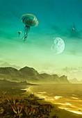 Flying alien creatures, illustration