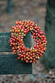 Herbstkranz mit Hagebutten auf Strohrömer