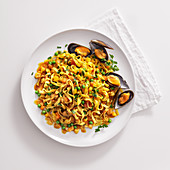 Tagliatelle with monk fish, mussels and peas