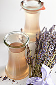 Homemade lavender syrup with dried lavender flowers