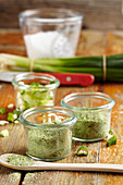 Homemade salt mixtures with dried spring onions