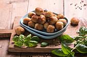 Fried vegan millet and mung bean balls