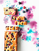 Ricotta cake topview on watercolour background