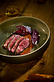 Natural cuisine: autumnal pork fillet with apple sauce and beetroot