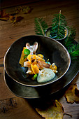 Natural cuisine: Norwegian lobster with pumpkin, Douglas fir oil and almond foam