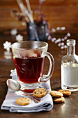 Hot tea with homemade ginger and cinnamon syrup
