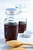 Glasses of homemade sugar syrup