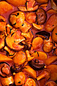Autumnal pumpkin and sausage goulash with mushrooms
