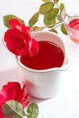 Homemade rose petal syrup