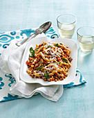 Busiate al tonno e menta (fusilli pasta with tuna and mint, Italy)