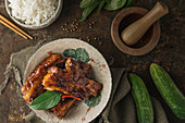 Sticky ribs with rice (Asia)