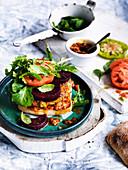 Quinoa, Zucchini and Haloumi Burgers