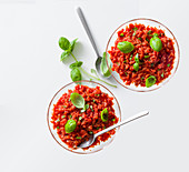 Tomato and basil sorbet with vodka