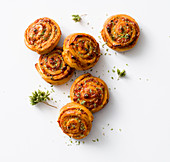 Pizza spirals with oregano